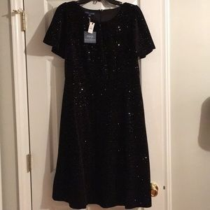 Brand New Talbots Black Sequined Dress Size 6